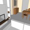 Wohnzimmer mit Kamin in 3D