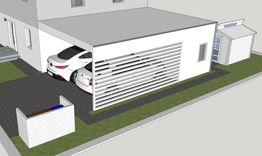 Carport, Einfahrt und Gartenhaus mit Sketchup