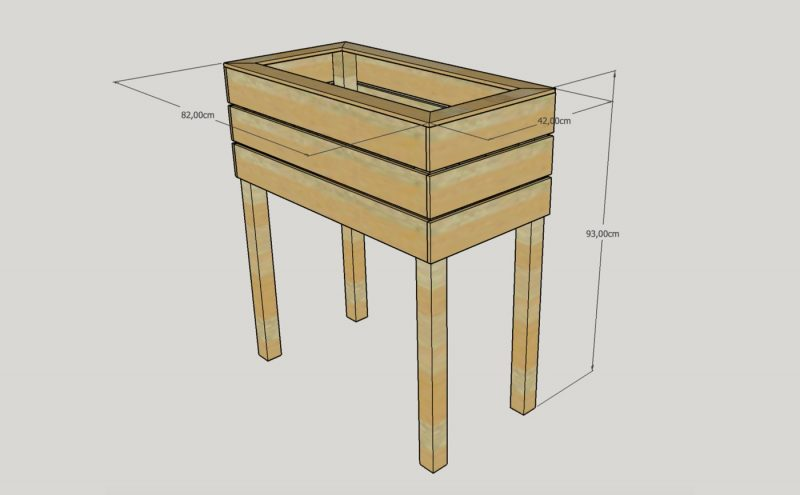 Hochbeet 3D-Skizze mit Sketchup