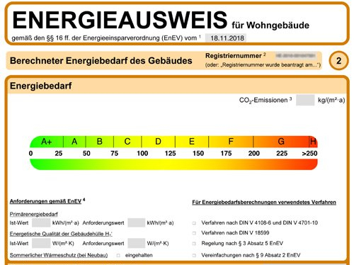 Energieausweis - Ausschnitt
