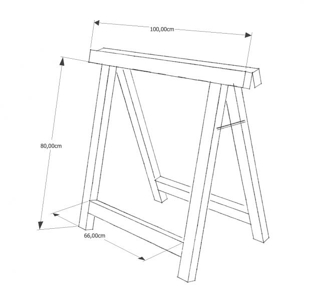 Skizze eines Holzbocks